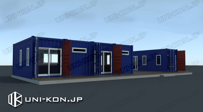 JIS鋼材確認申請対応コンテナハウスユニットハウスプレハブ事務所・店舗・レストランコンテナハウス連結タイプ