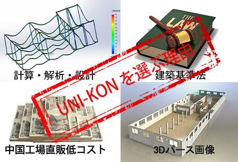 Uni-Konを選ぶ理由 コンテナハウス構造計算 安価 確認申請対応 パース画像提供