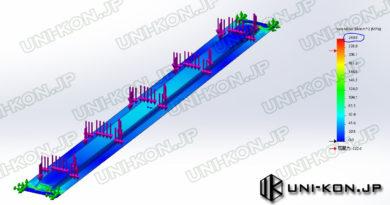 コンテナハウスの屋根1m積雪荷重に対して応力解析 Uni-Kon
