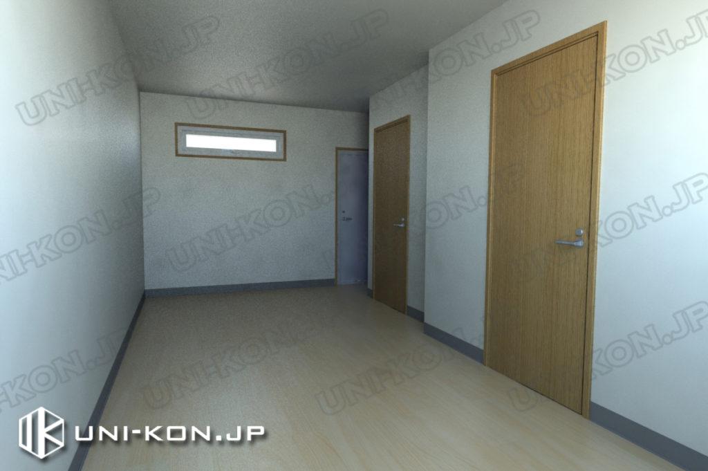 連結型集合住宅・アパート用コンテナハウスの中、出荷状態(家具無し状態)2