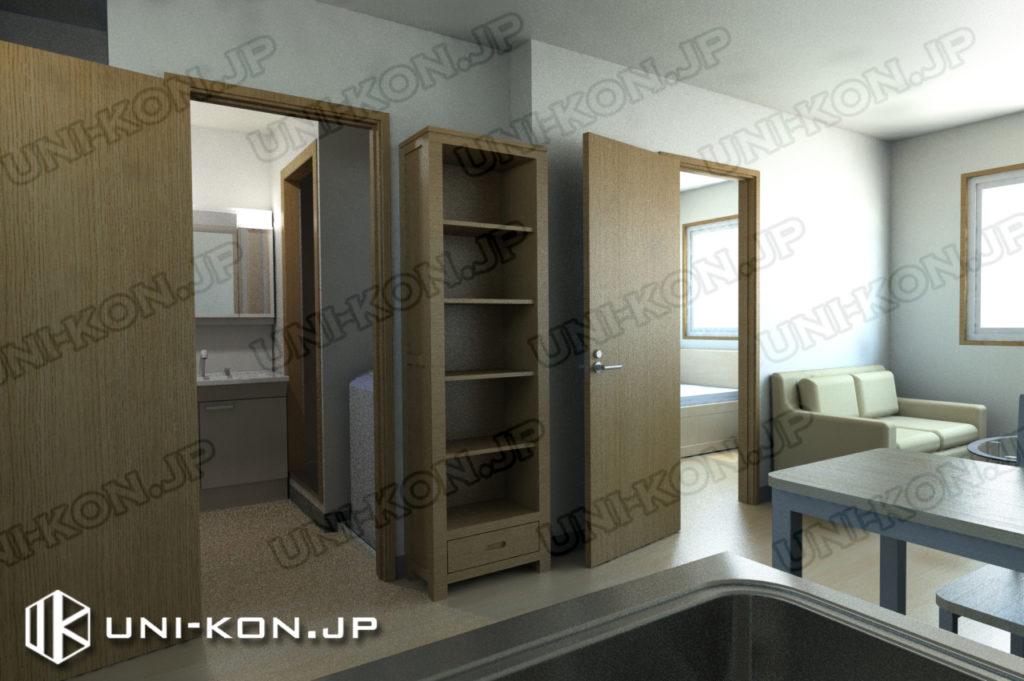 連結型集合住宅・アパート用コンテナハウスの中、トイレ・洋室のドアを開けた状態