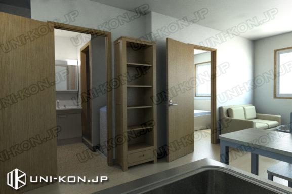 連結型集合住宅・アパート用コンテナハウスの中の内装、トイレ・洋室のドアを開けた状態