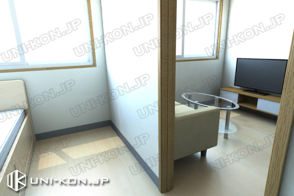 連結型集合住宅・アパート用コンテナハウスの中、洋室とリビングです