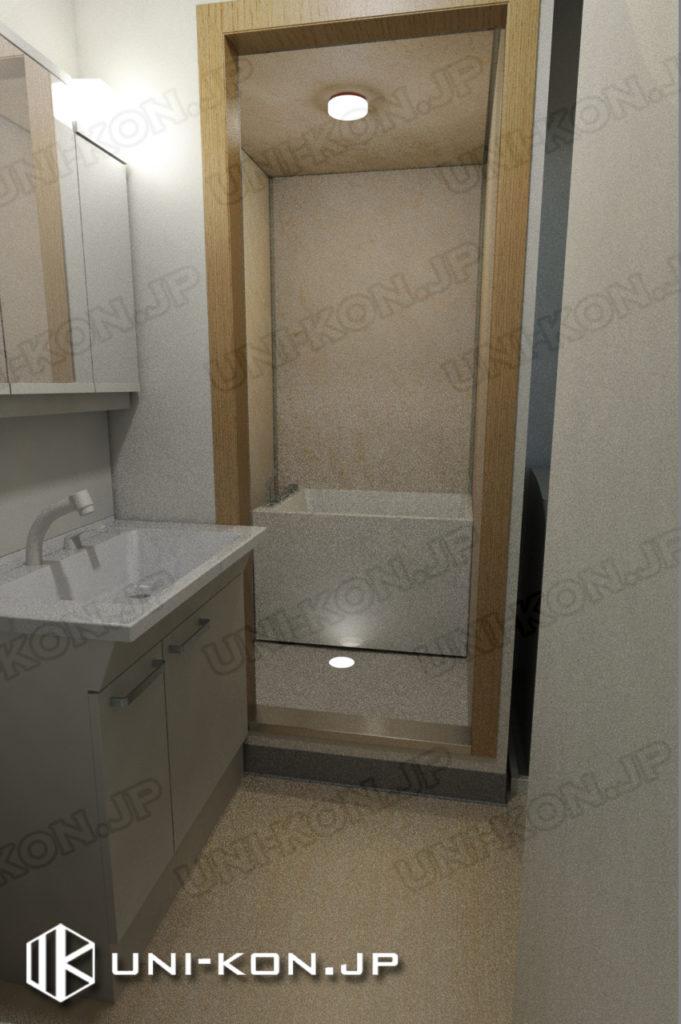 連結型集合住宅・アパート用コンテナハウスの中、トイレから浴室・お風呂の中を見る(画像中浴室はユニットバスではないが、ご需要によって、1611型のユニットバスで代替できます)