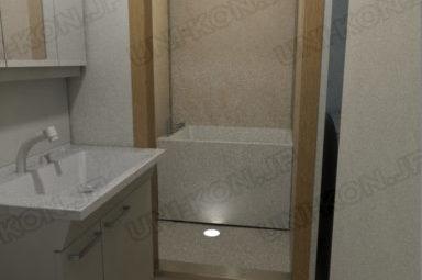 連結型集合住宅・アパート用コンテナハウスの中の内装、トイレから浴室・お風呂の中を見る