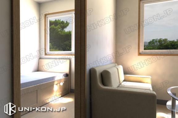 連結型集合住宅・アパート用コンテナハウスの中の内装、また洋室とリビングです