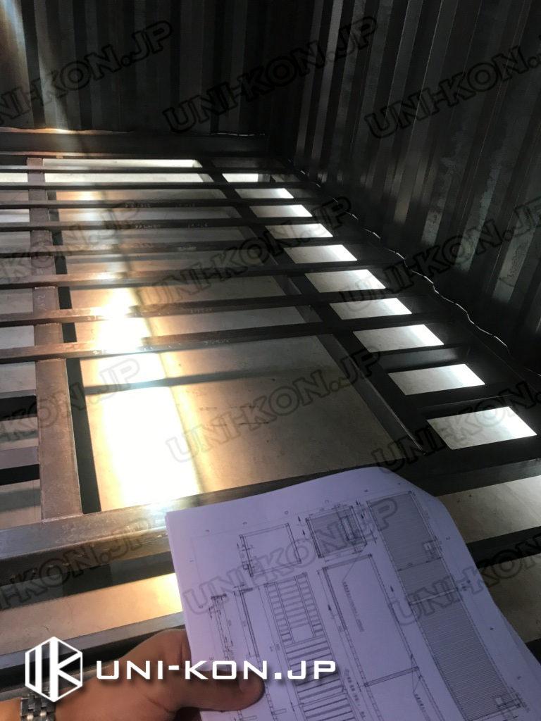 Uni-Konコンテナハウス品質:生産中品質確認管理検査、図面と製品実物