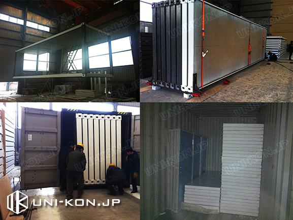 中国製組立式コンテナハウス・プレハブ中国製作工場内実験・荷積み