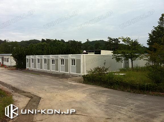 中国製組立式コンテナハウス・プレハブ外部・竣工時 日本福島復興作業員寄宿舎用