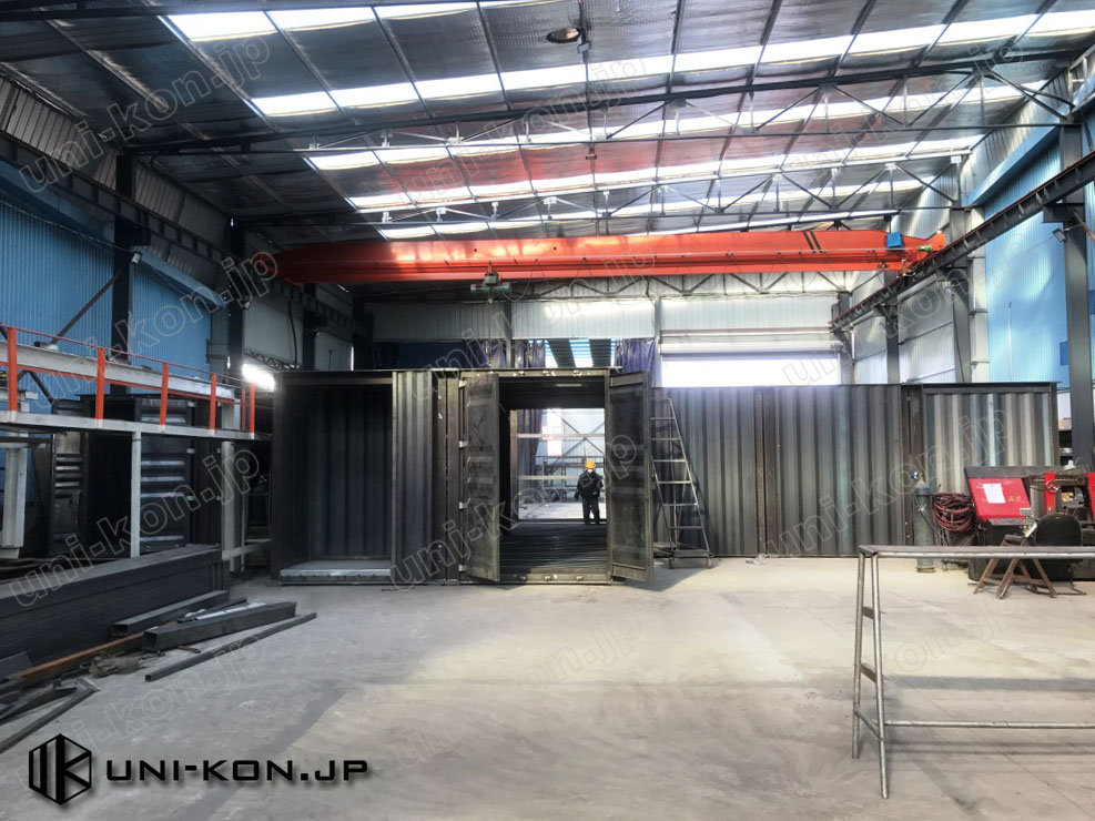 JIS鋼材コンテナハウスメーカー工場内仮組立検査 2