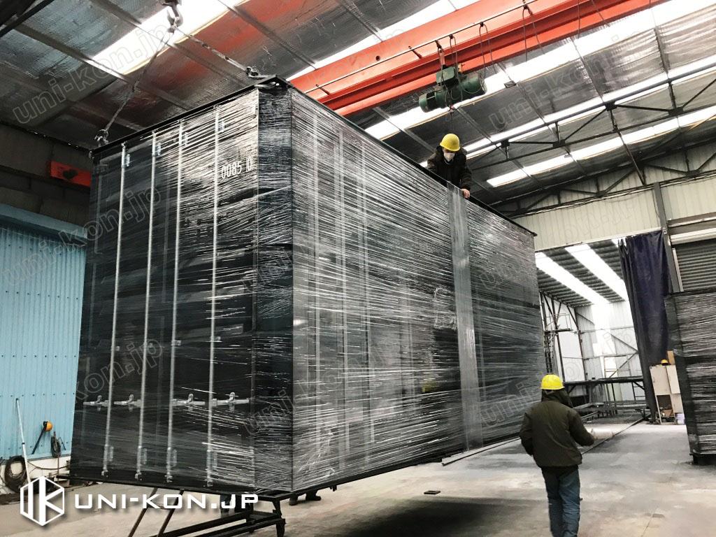 JIS鋼材新品コンテナハウス運搬輸送ビニール包装