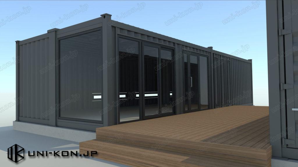 パース_コンテナハウス事務所棟側の建具