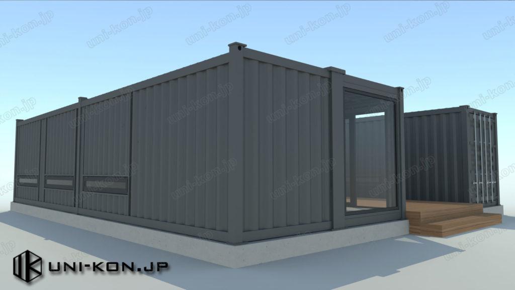 パース_中国製建具とコンテナハウス