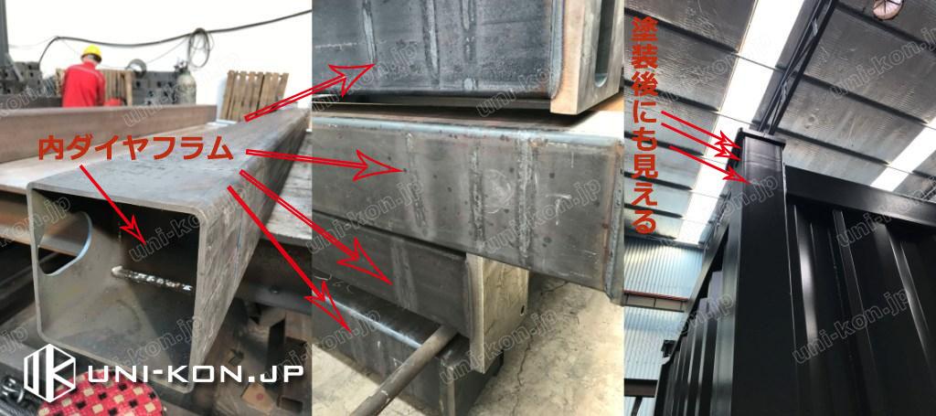 柱鋼管内に溶接された内ダイヤフラムで、柱外部に見える太い縞模様の溶接跡は内ダイヤがきちんと溶接された証