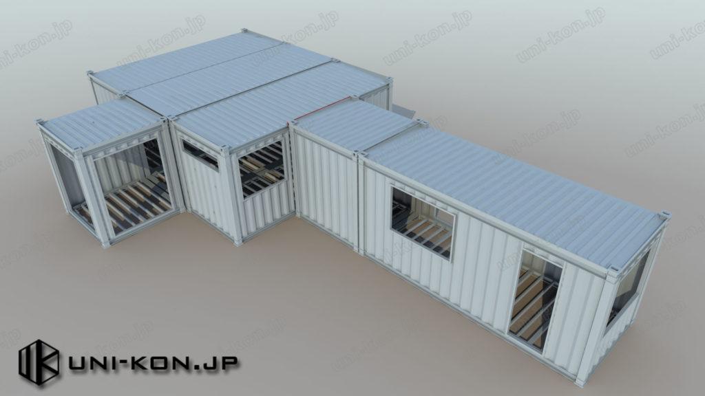 ハンマー型スイットホテル・民泊用コンテナハウス連棟(勾配屋根、鳥瞰、8Ftコンテナを2台繋げて20Ftとして運送)
