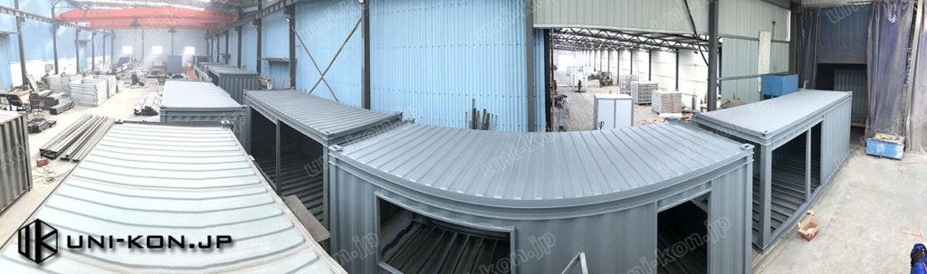 JIS鋼材コンテナハウス生産ライン・軒連なる